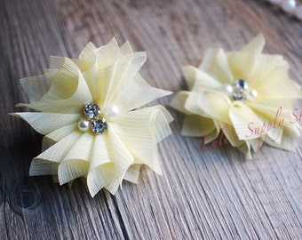 Set of 2 - Pale Yellow Beaded Flowers - Large Chiffon Flowers - Folded Chiffon Flowers - Light Yellow Fabric flowers - Chiffon Pearl Flowers