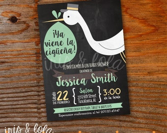 Spanish Ciguena Baby Shower Printable Digital Invitation