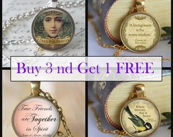 PENDANT NECKLACE Buy 3 and get 1 Free glass pendant necklace Jewelre Art Literary pendant necklacey SALE - Your Choice of necklaces -