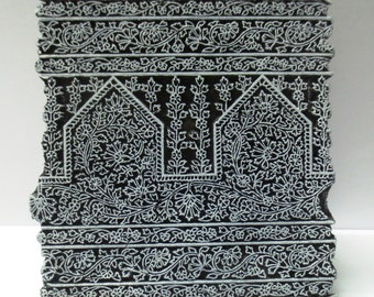 Vintage wooden hand carved textile printing fabric block / stamp Super fine detailed carving unique design pattern