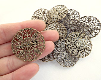 Bronze Brooch Base, 10 Filigree Brooch, Round Brooch Setting, 30mm Filigree Brooch, Brooch Backs, 10 Pin Brooch, Jewelry Supplies, UK Seller