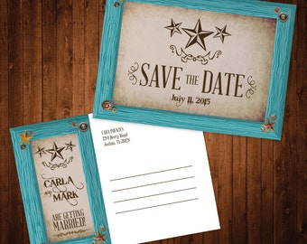 4x5.5 Save The Date Postcard Turquoise Frame Rustic Country