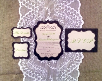 5x7 Die Cut Wedding Invitation, RSVPs, Directions, Details Inserts- Chocolate Brown & Apple Green