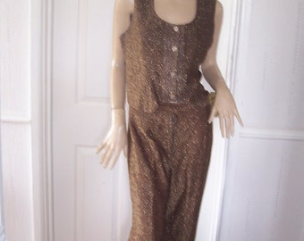 Unique Home made Authentic Vintage Gold Shimmer Trousers/W/Coat sz 12/14 * Pristine