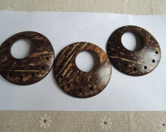 10Pcs 50mm   Natural Coconut ring with big hole  (W1034)