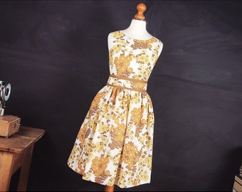 Betty Dress Sizes 6-22 in Yellow Floral Vintage Cotton Tea Dress Vintage Style Sun Dress in Any Size Swing Dress Rockabilly Retro Flowers
