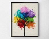 Tree Wall Art, Modern Home Decor, Tree Print, Modern Art Print, Nature Art Print, Tree Artwork, Rainbow Art, Chakra Art, Tree Poster, 0299