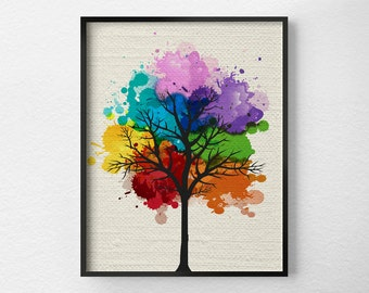 Tree Wall Art, Modern Home Decor, Tree Print, Modern Art Print, Nature Art Print, Tree Artwork, Rainbow Art, Chakra Art, Tree Poster, 0299