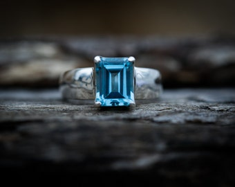 Blue Topaz Ring - Blue Topaz Ring size 7.5 - Blue Topaz Jewelry - December Birthstone - Topaz - Gift for her - Ring Size 7.5