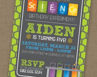 PRINTABLE Science Birthday Party Invitation