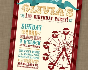 PRINTABLE Vintage Carnival Birthday Party Invitation