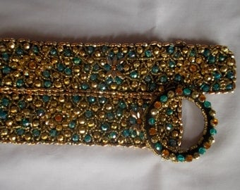 All Beaded Gold and Blue Belt