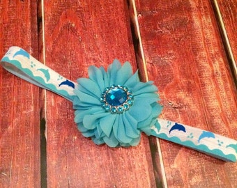 Dolphin Headband- Summer Headband, Ocean Headband, Out at Sea, Headband, Beach Accessory