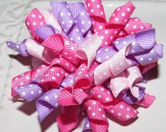 Easter, Spring, Summer Korker Hair Bow, Photo Prop, Pink, Lavender