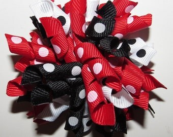 University of Wisconsin Badgers Korker Hair Bow, Red, White, Black