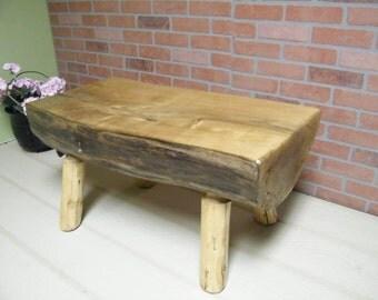 Bench, Log Bench, Rustic Log Bench Handcrafted Bench, Butternut Wood Bench