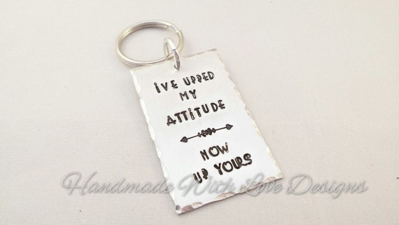 Up Yours hand Stamped Keyring
