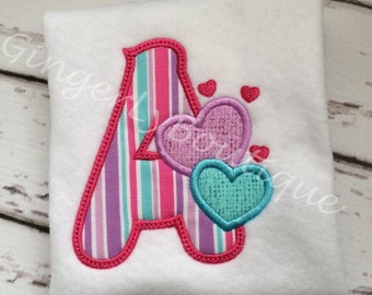 Hearts Personalized Alpha/Letter Shirt or Bodysuit