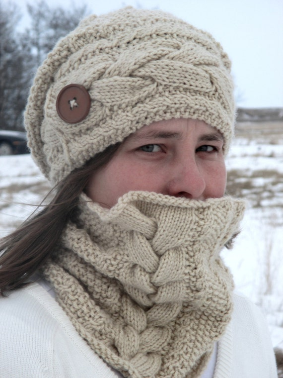 Free Knitting Patterns Cowl Hat : KNITTING PATTERN PDF hat and cowl set - knitting pattern hat - knitting patte...