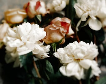 Styled, Dreamy, Romantic Fine Art A4 (8x10) Print Photography - Bunch of White Peonies and powder pink Roses