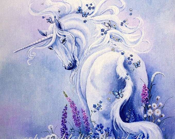 PRINT- FANTASY - UNICORN; wildflowers, butterflies, garden, nature, reproduction, flowers, blue color