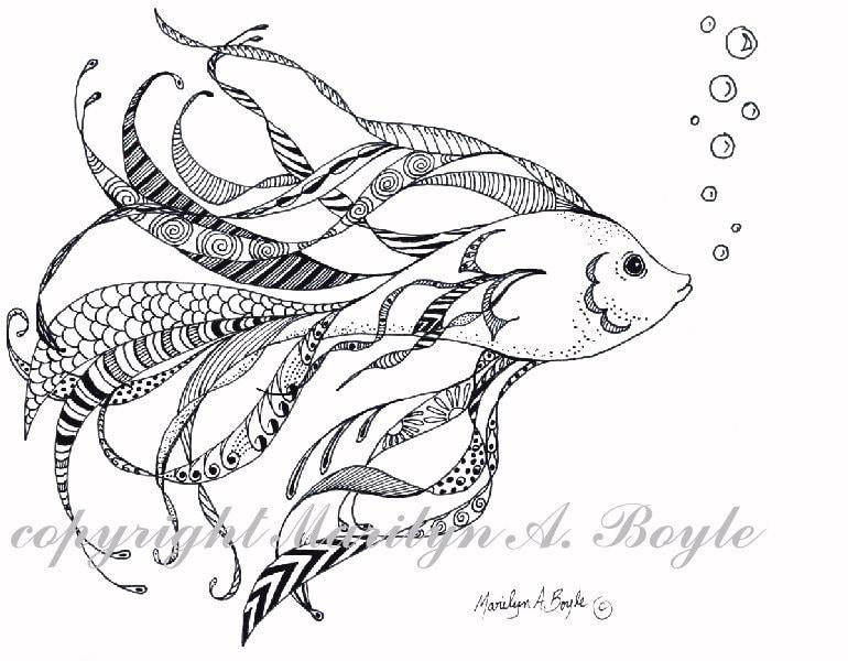 Goldfish line drawing - photo#21