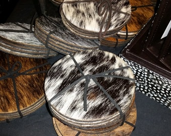 Unusual circular COWHIDE or springbok coasters SOLD SEPARATELY