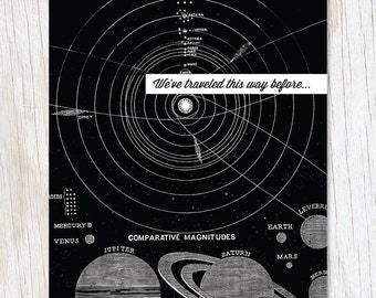 We've Traveled This Way Before. Planets and Orbits Vintage Illustration Greeting Card | Science Astronomy Solar System Stationery