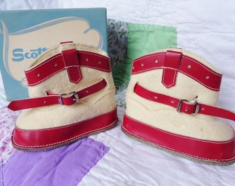 True Vintage 1950s Baby Girl Scott's Baby Boots Shoes Wool and Leather