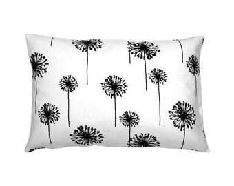 Cushion cover 40 x 60 cm black and white DANDELION Blowball