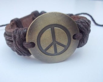 Peace & Love Brown Leather Bracelet.