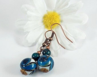 Teal/Blue/White Swirl Pattern Dangle Earrings With Copper - Free Shipping