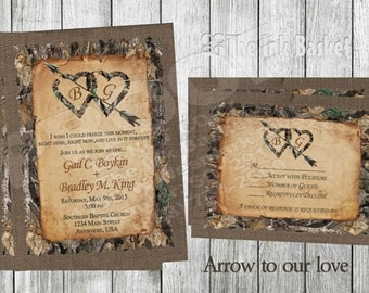 Printable Wedding Invitations, Arrow to our love,Birthday, Deer, Hunter, Camo, Camoflauge, arrow, hunting