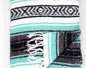 MINT SEAFOAM Mexican Blanket Beach Blanket Vintage Style