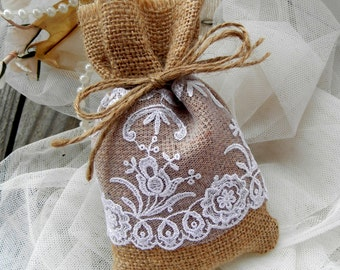 Natural Burlap Linen Favor Bags - wedding favor bags - Baptsim Favor bags