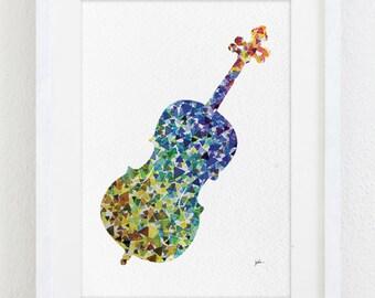 Cello Art Watercolor Painting - 5x7 Archival Print - Cello Silhouette Home Decor, Music Instrument Home Decor, Wall Decor