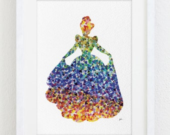 Cinderella Watercolor Print - 5x7 Archival Print - Colourful Painting - Disney Art Print - Home and Living Wall Decor, Art Home Decor