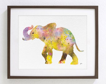 Yellow Elephant Painting, Watercolor Art - 8x10 Archival Print - Animals, Elephant Art Print, Wall Decor Art Home Decor Housewares