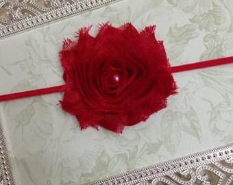 10% OFF...Baby Headband - Red Flower Headband - Valentine Headband - Red Baby Headband - Photo Prop Headband
