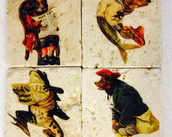 Fancy Victorian Animals Tile Coasters - Set of 4 // Whimsical // Comical // Anthropomorphic // Bear // Frog // Fish // Dog