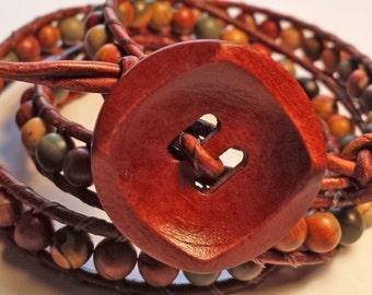 Red Creek Jasper Leather Wrap Bracelet