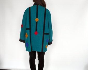 Over Sized Wool Coat Art Deco Applique Geometric Shapes Made in Yugoslavia International Scene