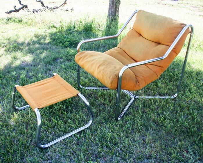 Enjoyable Mid Century Modern Lounge Chair Chrome Tubular Sling Evergreenethics Interior Chair Design Evergreenethicsorg