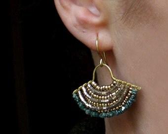 Raw diamond earrings // raw diamond jewelry // raw diamond and brass earrings // blue diamond