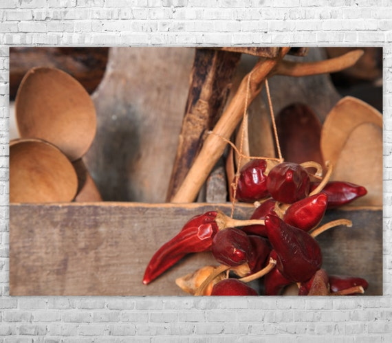 Chili Pepper Kitchen Curtains: Rustic Kitchen Decor Chili Pepper Print Food By ANYPRINT