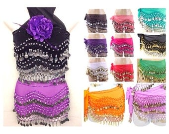 Halloween Personalized Belly dance hip skirt scarf wrap/dancing waist skirt /burning man/dance festival/rave/edc/escape