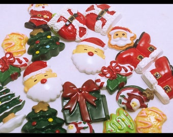 Clearance 24 PC Christmas Holiday Santa Tree Cookie Festive Resin Flatback Scrapbooking Hair Bow Parties DIY Projects az425