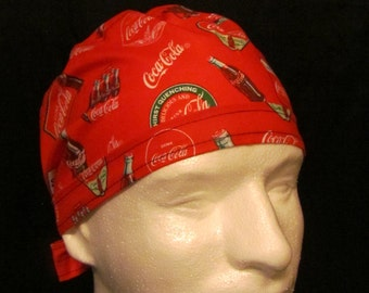 Coca Cola Coke Refreshing Drink Signature Vintage Bottles Tie Back Surgical Scrub Hat