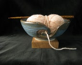Blue Spiral Yarn Bowl - 6in / 150mm