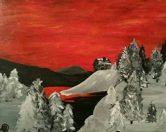 16x20 Snowy Sunset/Acrylic Painting